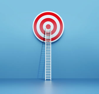 Ladder leading to the bullseye of a target