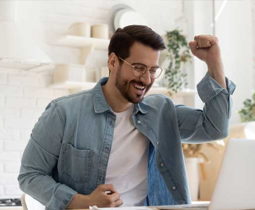 Man excited after finding a job